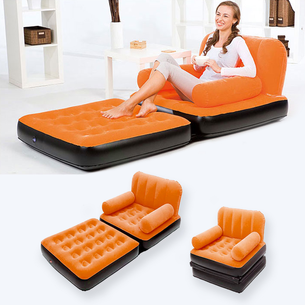 Inflatable Chair Camping Bed Sofa Air Seat Couch Pull Out