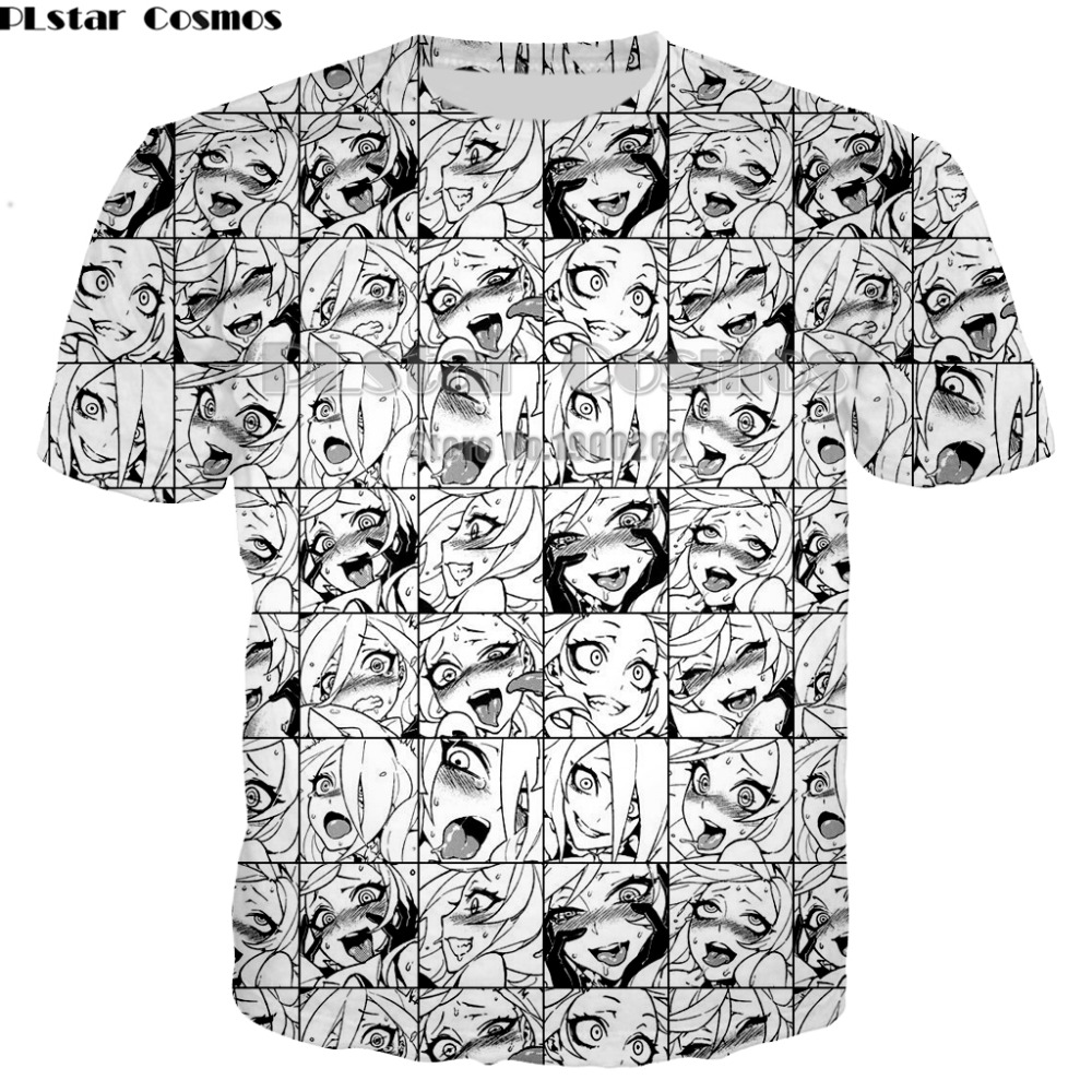 PLstar Cosmos Ahegao T-shirt New Style Anime sexy girl shy 3D print Shirt O-Neck Short Sleeve T Shirt T Shirts
