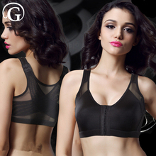 PRAYGER Women Wire Free X Bra Without Pads Front Hook Bras Posture Corrector Brassiere Adjust Straps Breathable Cup Top