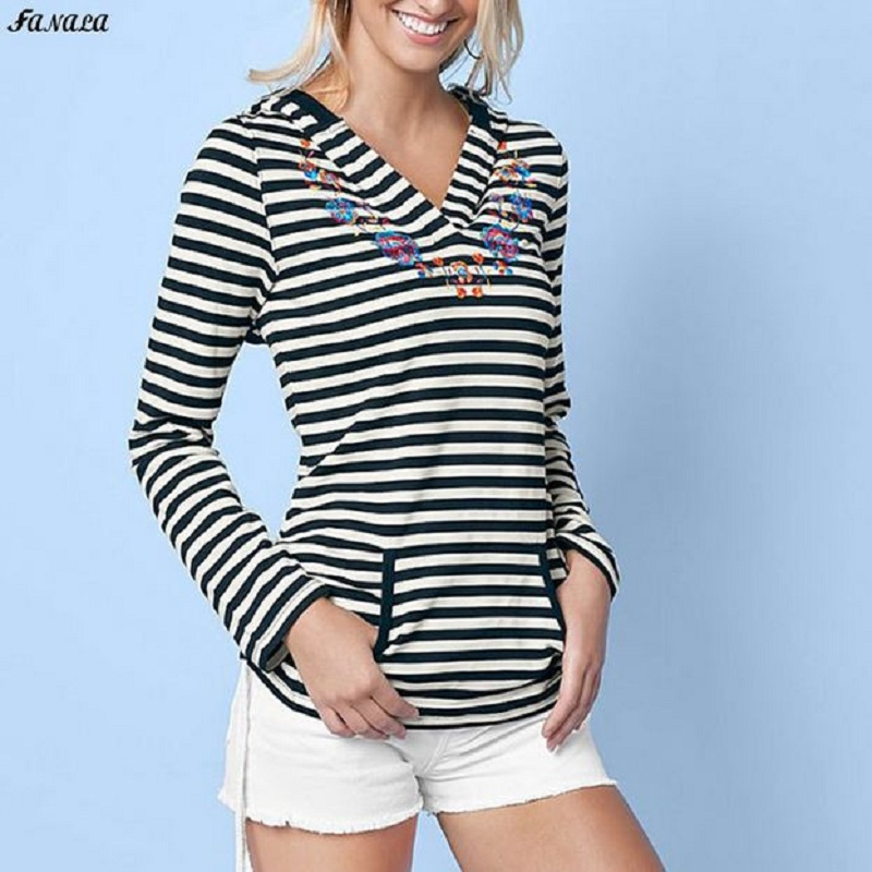 FANALA Women Hoodies Sweatshirt Long Sleeve Stripe Harajuku Pocket Design Winter Hoodie For Women Pullovers Sudaderas Mujer