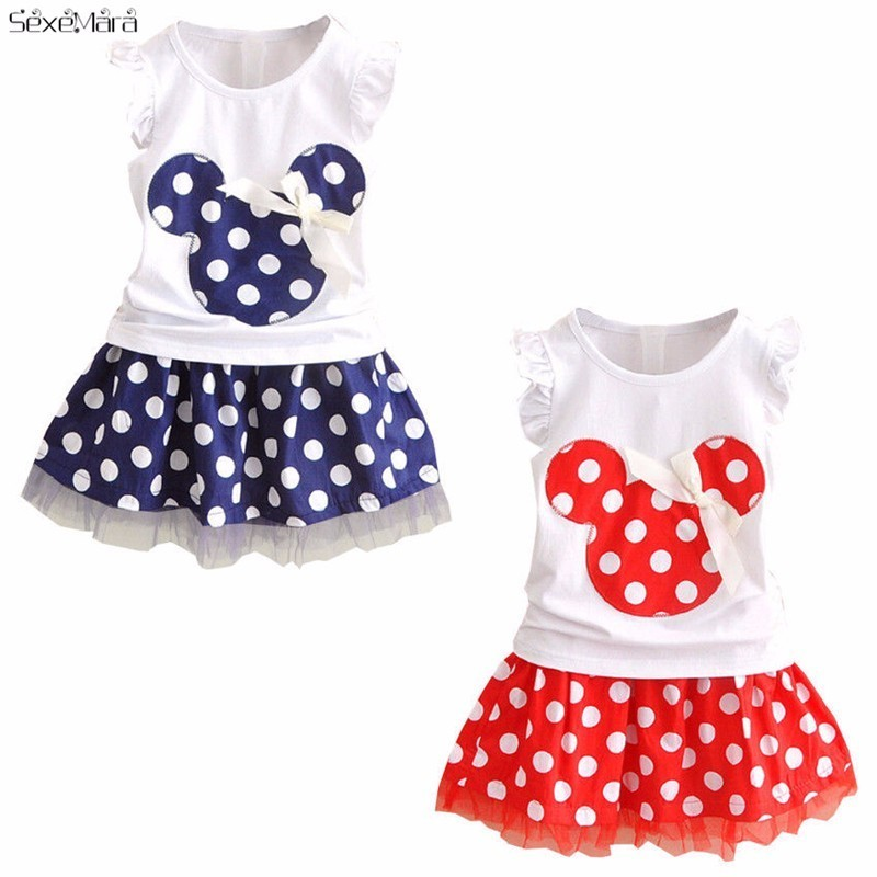 Kids Minnie Mouse Clothes Set Kids Baby Girls Summer Outfits Clothes Sleeveless T-shirt Tops Polka Dot Tutu Skirt Party