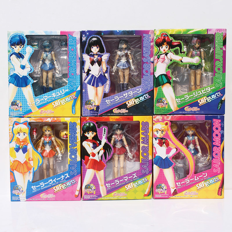 6pcs/set 14cm SHFiguarts Anime Sailor Moon Venus Mars Saturn Jupiter Mercury PVC Action Figure Collectible Model Toys With Box sailor moon capsule communication instrument machine accessory gashapon figure anime toy full set 100