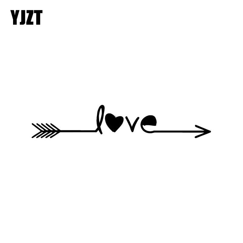 Favorite YJZT 19*3.5CM Love Arrow FEATHER Fashion Car Sticker Black/Silver  HO84