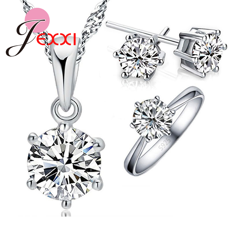 Ring-Earring 925-Sterling-Silver Necklace Wedding-Jewelry-Set Crystal Birthday-Gift Fashion