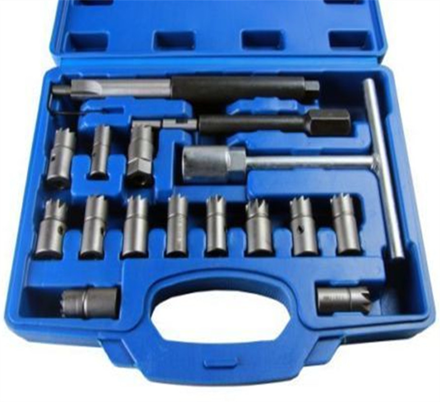 17pcs Common Rail Tool Diesel Engine Fuel Injector Assy Base Seat Cutter Set Repair Kits With Different Sizes Reamer