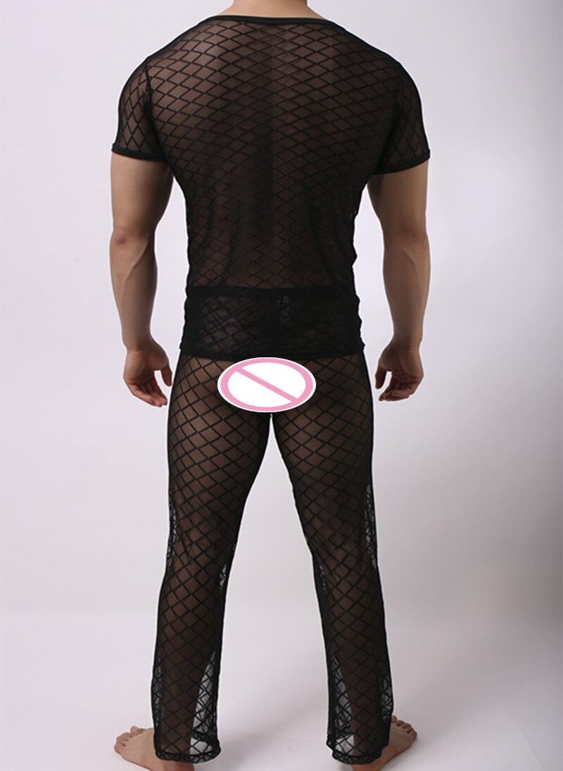 Men's Pajama Sets Men's Sleep & Lounge Fashion Mens Mesh Argyle Transparent Sleep Pajama Sets Sexy Bodybuilding Short T Shirts And Long Pants
