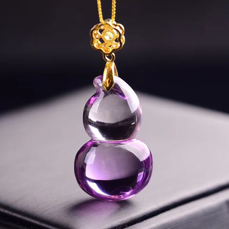 цена на Wholesale Purple Gourd Natural Crystal Pendant With 925 Silver Chain Necklace Lucky for Women Blessing Crystal Pendant Jewelry