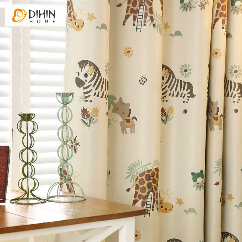 DIHIN HOME Cartoon Zebra Animal Printed Blackout Curtains For Children Room Cortina Sheer Curtain For Kids Room