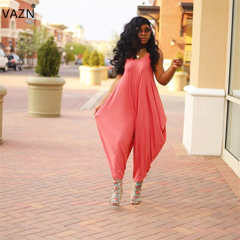 Constructive Vazn 2019 Fashion Design Solid Jumpsuit Red High Street Jumpsuit Young Sweet Girl Sleeveless Lantern Gallus Long Rompers Py8310 Demand Exceeding Supply Women's Clothing