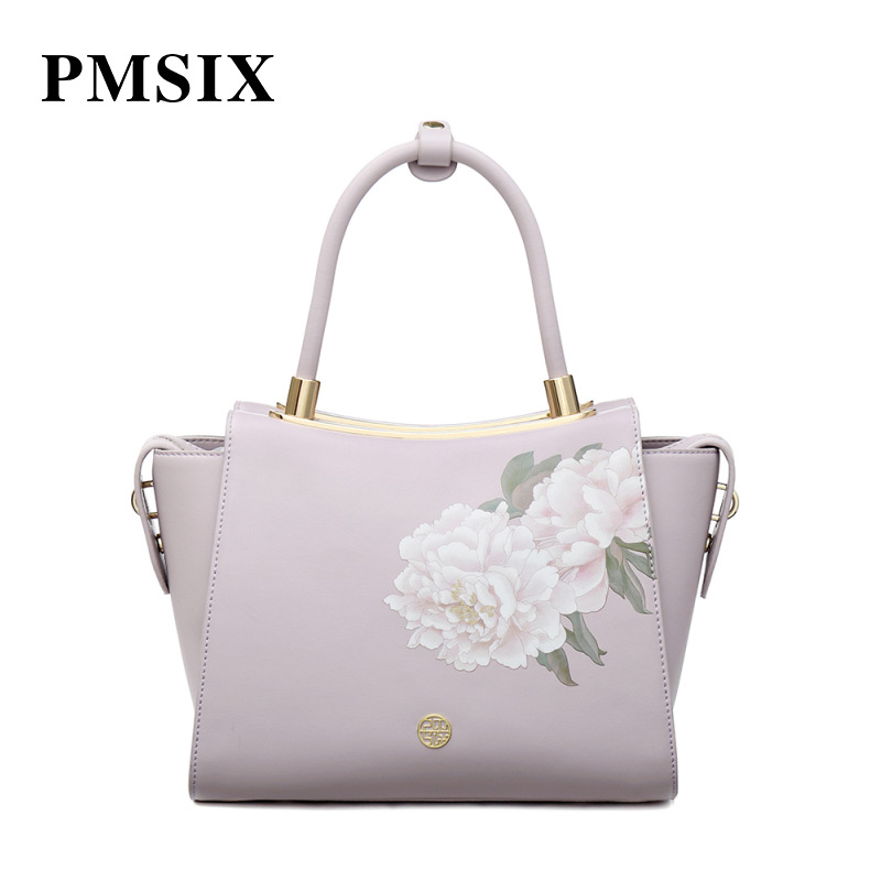 PMSIX Casual Vintage Printing Floral Ladies Handbag Hard Luxury Female Pink Shoulder Bags Designer  brand famous in womensbagPMSIX Casual Vintage Printing Floral Ladies Handbag Hard Luxury Female Pink Shoulder Bags Designer  brand famous in womensbag