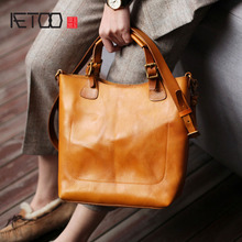 AETOO Textured Briefcase, female retro British style handmade cowhide handbag, simple leather shoulder crossbody bag
