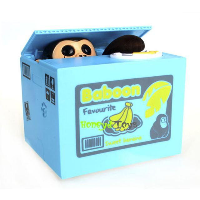 2015*Cute Itazura Stealing Coin Monkey Kitty Penny Cents Piggy Bank Saving Box Kids Child Present Gift