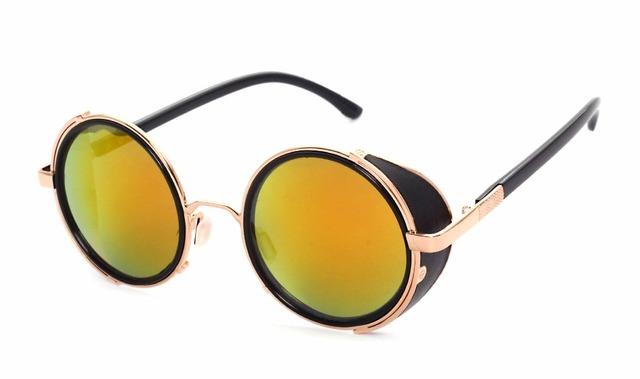 Coating Sunglasses Steampunk Round Fashion
