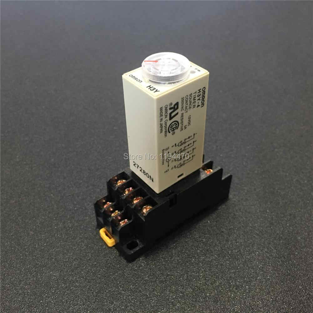 AC 220V 14 Pins 4PDT 0-1S Timer Delay DIN Rail Time Relay H3Y-4 w with Base
