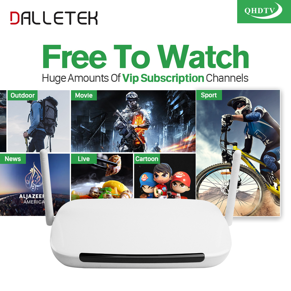 Dalletektv Android Smart TV Box 1 Year Free Qhdtv Iptv Channels Arabic Europe Italia IPTV French Set Top Box Media Player