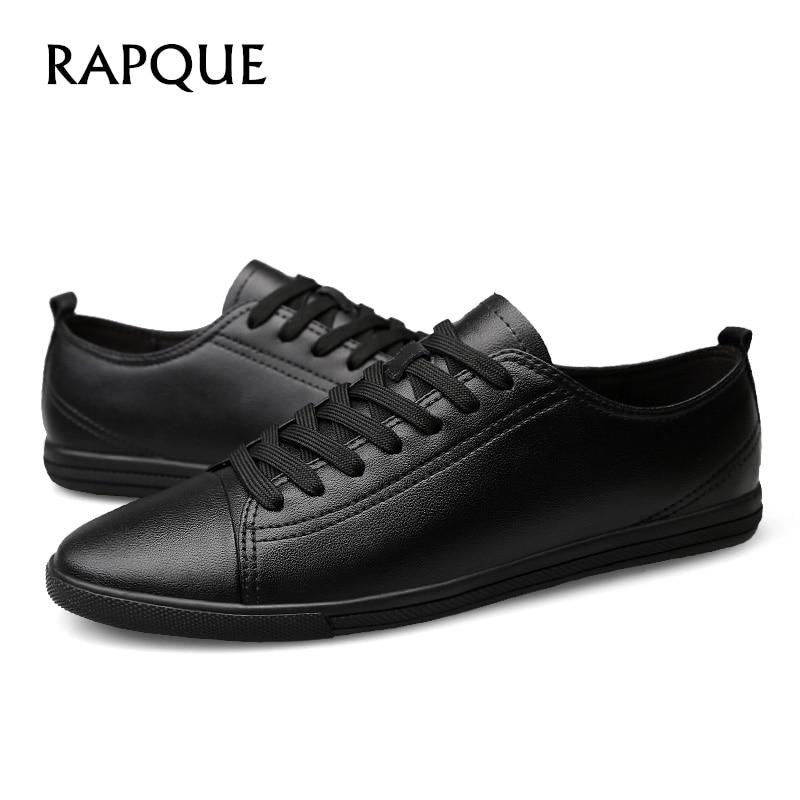 Herre Casual Shoes Ekte Lær Brogue Flat Heel Sko Menn Designer - Herresko