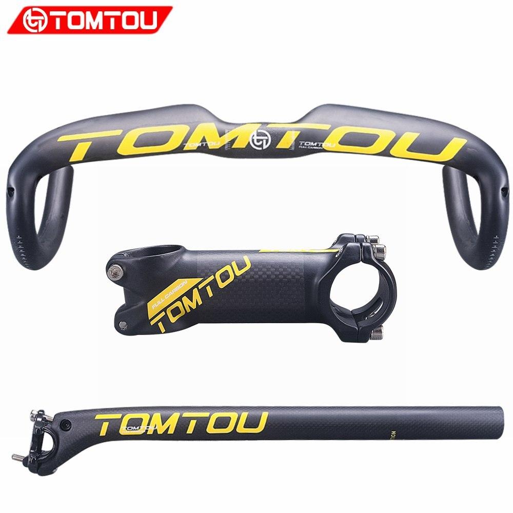 Le guidon de route de vélo de fibre de carbone jaune mat de TOMTOU place le guidon + le Tube de siège + les pièces de bicyclette de route de tige-TS9T25