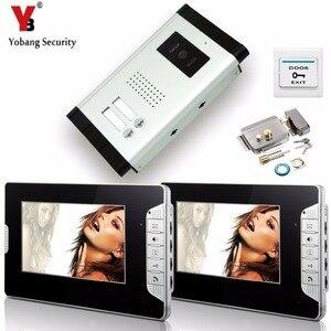 Yobang система безопасности, 7-дюймовый электронный замок, система контроля доступа, домофон, видеодомофон, дверной звонок, 2 монитора для кварт...