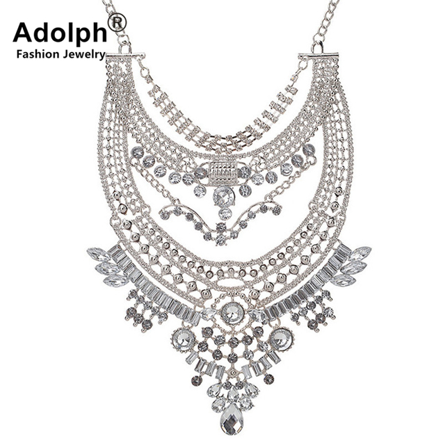 ADOLPH Brand Punk Vintage Crystal Big Statement Necklace Woman Chunky Boho Choker Necklaces Fashion Accessories Sales