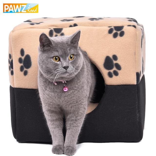 PAWZRoad HOT!! Fashion Dog Bed Pet Kennel Paw Pattern Soft Dog House Bed Puppy Cat Warming Winter Nest Bed S/M Size Pet Supplies