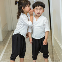 Retro stile Cinese Unisex Vestiti Del Bambino Che Coprono Gli Insiemi lino mezza Manica Han Costume + pantaloni allentati 2 pz Baby Boy e Vestiti della ragazza