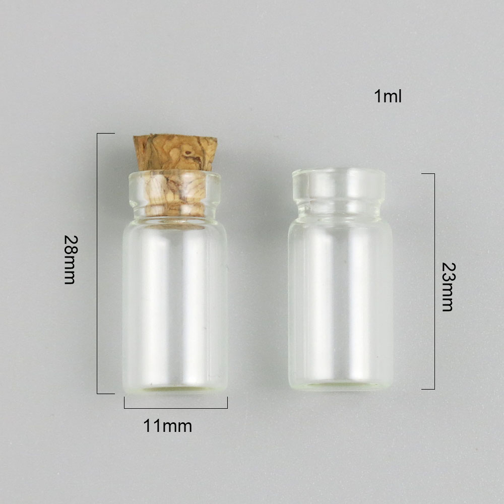 12pcs 1ml Clear Cute Mini Small Glass Bottle Cork Pendant Vial Necklace Adjustable For DIY Wedding Gift Using in Refillable Bottles from Beauty Health