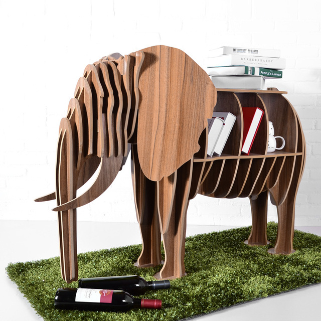 High End DIY Wood Desk Elephant Storage Table Wooden Animal Wild Africa  Elephant Creative Furniture