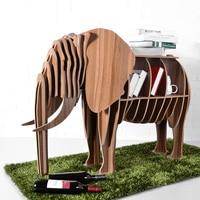 High end DIY Wood Desk Elephant Storage Table Wooden Animal Wild Africa Elephant Creative Furniture For Art Home Decor TM006M