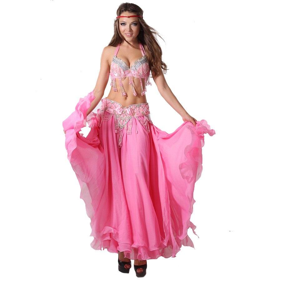 Belly Dance Clothing Oriental Dance Professional 3-piece Outfit Bra, Belt & Skirt Women Bellydance Costume