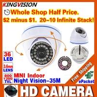 HotSale HD 1/3 cmos 1200TVL Analógica CCTV mini Cámara de Vigilancia de Seguridad de INTERIOR de la Bóveda IR-CUT Visión Nocturna 36LED 30 m home Video
