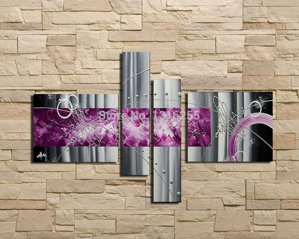 4 pièces/ensemble ensemble moderne abstrait gris argent lignes violet peinture à l'huile sur toile mur Art maison salon décoration photo