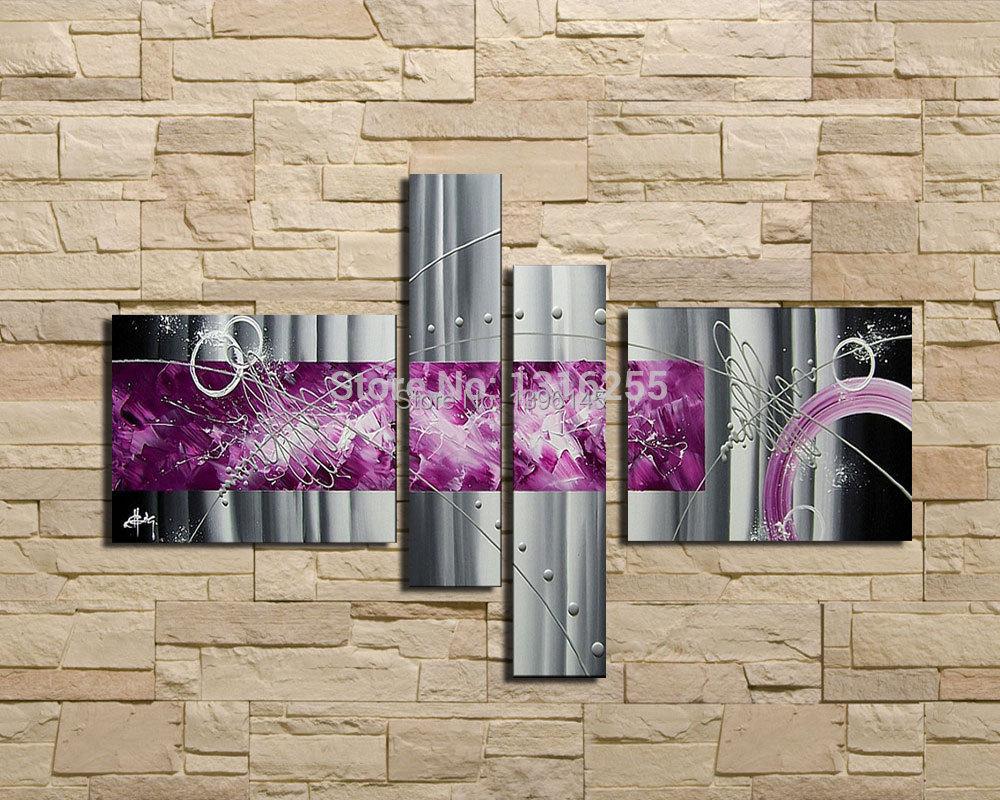 4 Teile Satz Set Moderne Abstrakte Grau Silber Linien Lila Lgemlde Auf Leinwand Wand Kunst Home Wohnzimmer Dekoration Bild