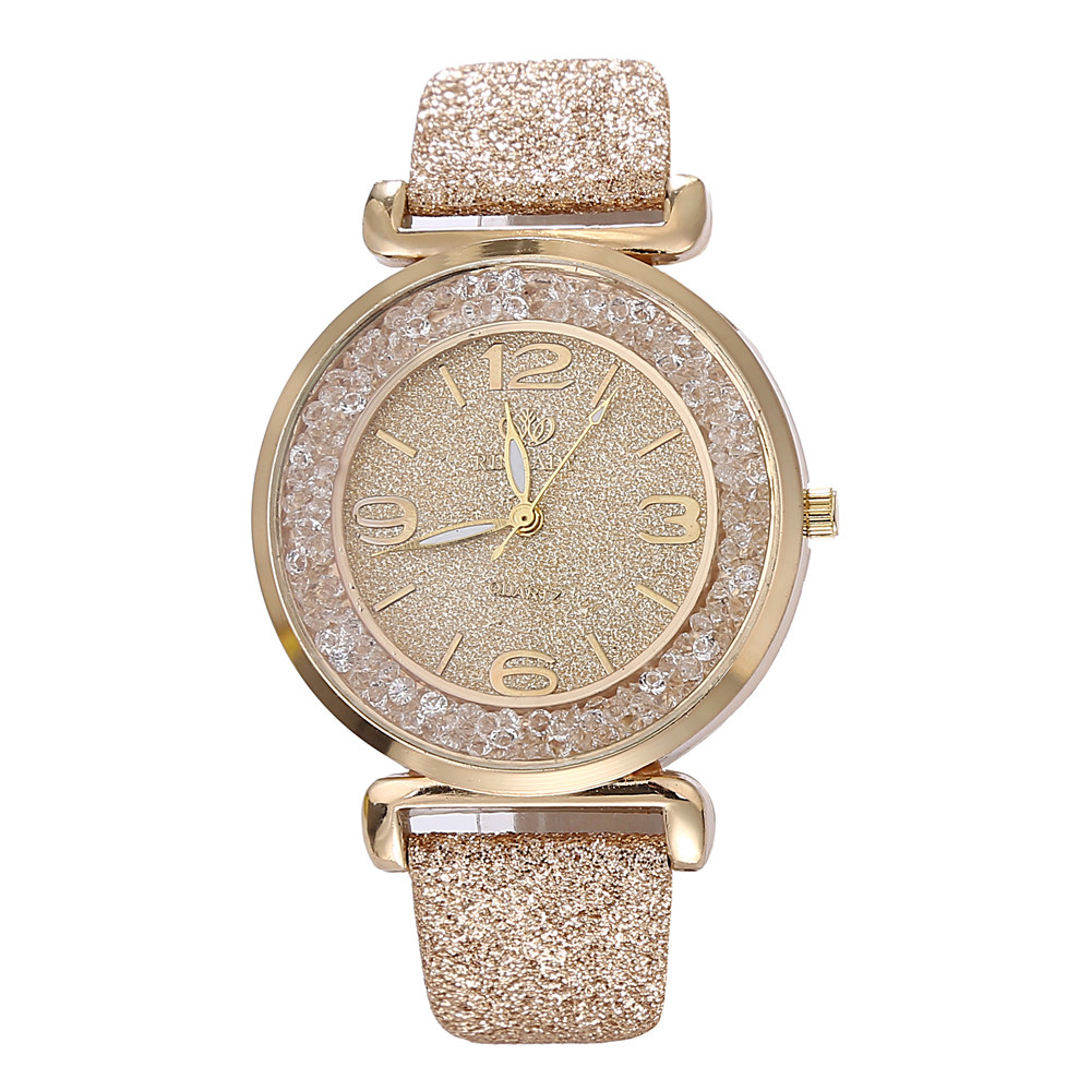 Hot Fashion Women Watches Quicksand Rhinestone Round Dial Leather Ladies Quartz Wrist Watches Girl Gift Clock Relogio Feminino#W