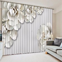 New Custom 3D Beautiful Printed Curtain White Flower Blackout Shade Window Curtains Window Curtain Living Room