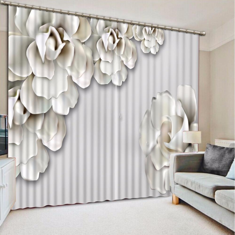 New Custom 3D Beautiful Printed Curtain White Flower Blackout Shade Window Curtains Window Curtain Living Room