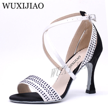 WUXIJIAO Salsa Dance SParty Shoes Satin Shining rhinestones Soft Bottom Latin Woman heel 5cm-10cm