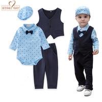 Baby Boy Clothes Gentlemen Wedding Blue Bow Tie Long Sleeves Romper Vest Pants Hat 4pcs Set