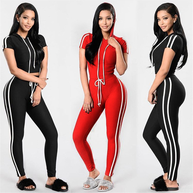 Red Black 2 Piece Sets Yoga Hooded Short Sleeve Crop Top Sweat Pants Set  Sports Suits 9b751dfa8
