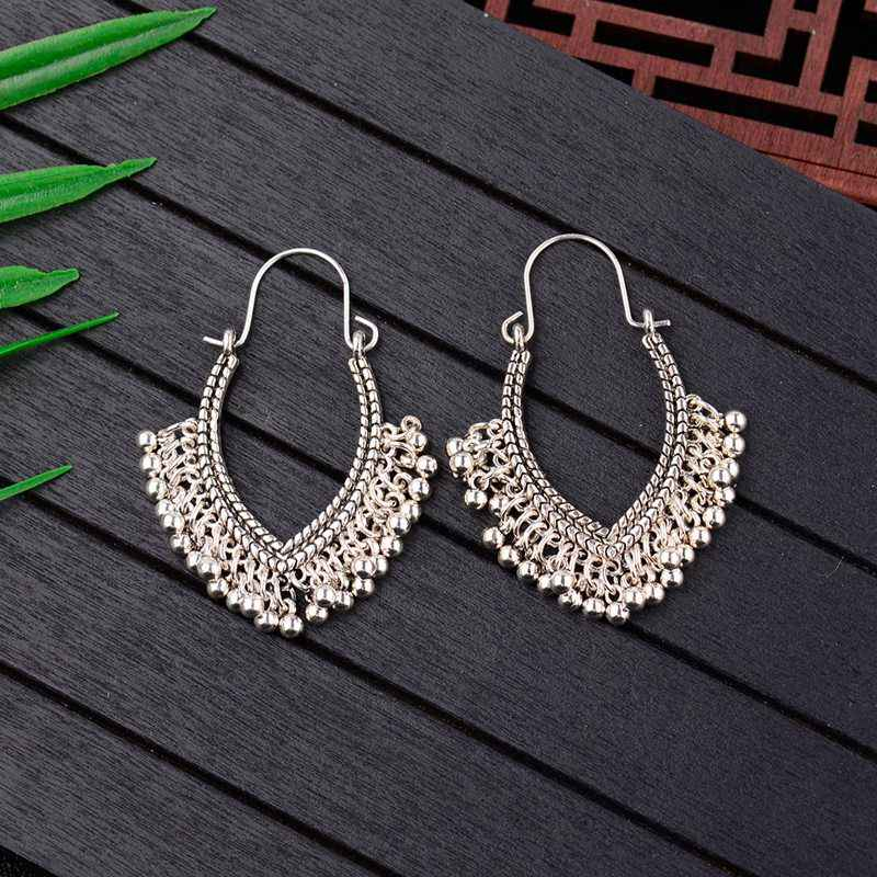 Tophanqi India Jhumka Perhiasan Vintage Bell Rumbai Anting-Anting BoHo Antik Etnik Silver DROP Menggantung Anting-Anting untuk Wanita Pendientes