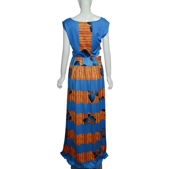 African  Pants Skirt Set Round Collar Sleeveless