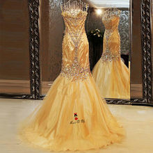 Abendkleider Vestido de Festa Luxury Gold Evening Dresses Long 2018 Beads  Sweetheart Mermaid Pageant Prom Dress Imported Party b778d7048a1d