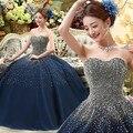 2017 Longo Azul Marinho vestido de Baile Sob Medida Fora Do Ombro Mangas Vestidos Quinceanera Doce 16 Dresses Vestido de Princesa Encantadora
