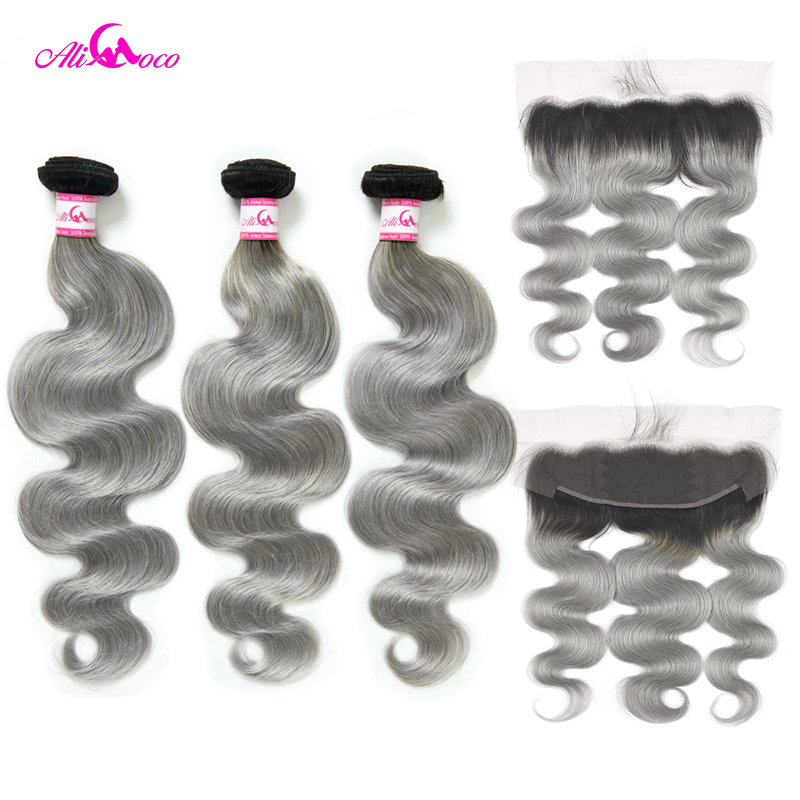 Ali Coco Body Wave Human Hair 2/3 Bundles With 13x4 Lace Frontal Closure 1B/Grey Color 10-30 Inch Remy Hair Bundles With Frontal