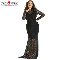 Plus Size Elegant Black Lace Maxi Dress Women Sexy Floral Lace Bodycon Party Dress Lady Hollow Out Formal Fishtail Evening Gown