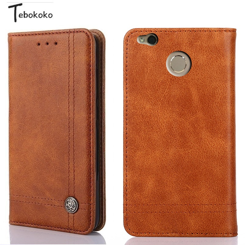 Leather Case for Xiaomi Redmi 4X Cover Phone Bag Shell Shockproof Silicone Card Holder Flip Wallet Case for Redmi 4X Case Funda
