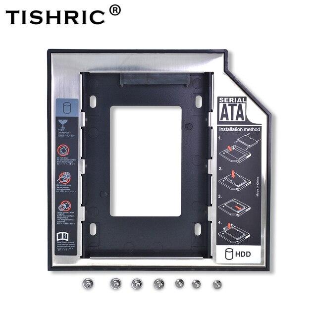 """Tishric Optibay 2nd HDD Caddy de aluminio de 9,5mm Universal SATA 3,0 de 2,5 """"SSD caso de adaptador de disco duro DVD HDD para portátil extraño"""