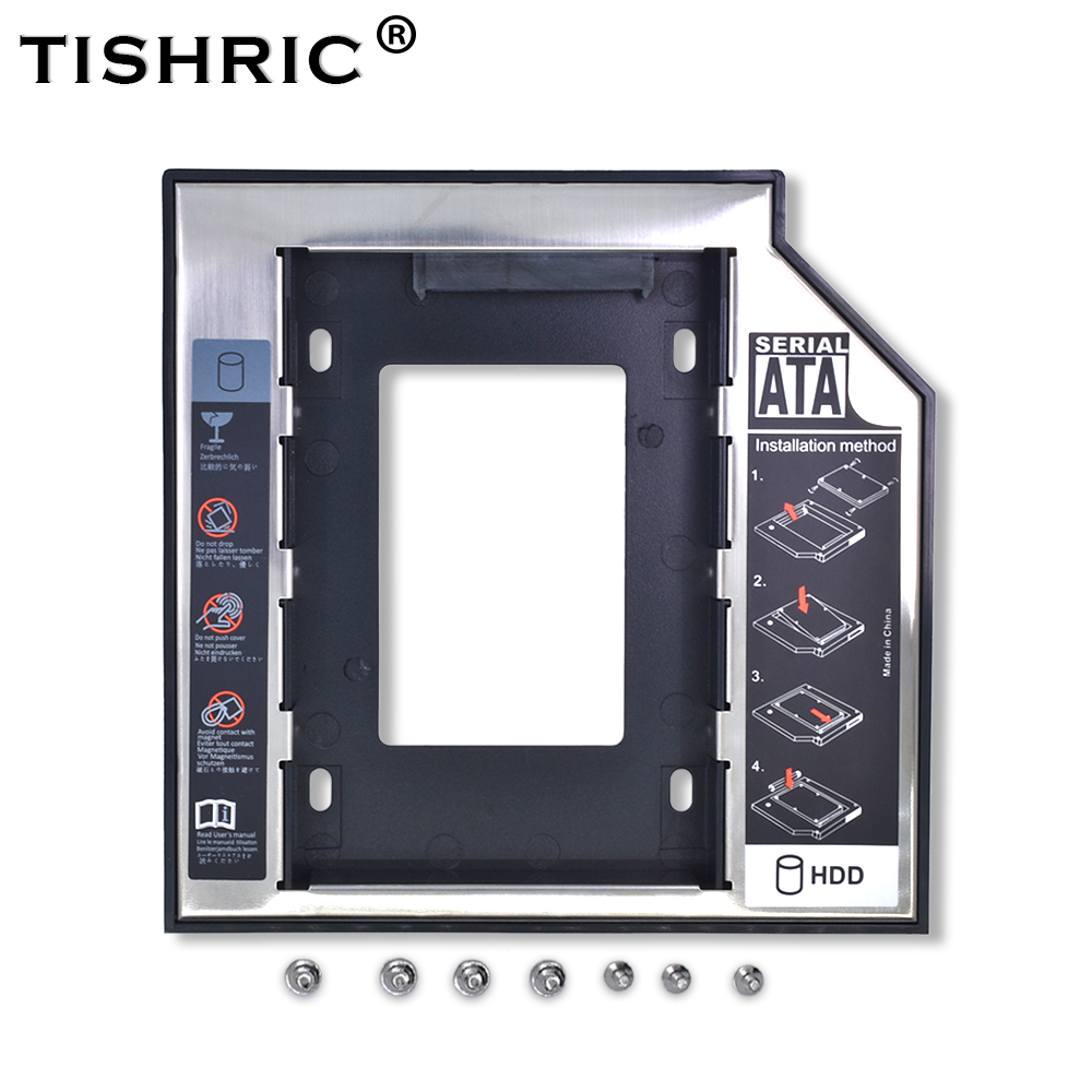 "Tishric Optibay 2nd Hdd Caddy 9.5Mm Aluminium Universal Sata 3.0 2.5 ""Ssd Case Harde Schijf Adapter Dvd Hdd voor Laptop Odd
