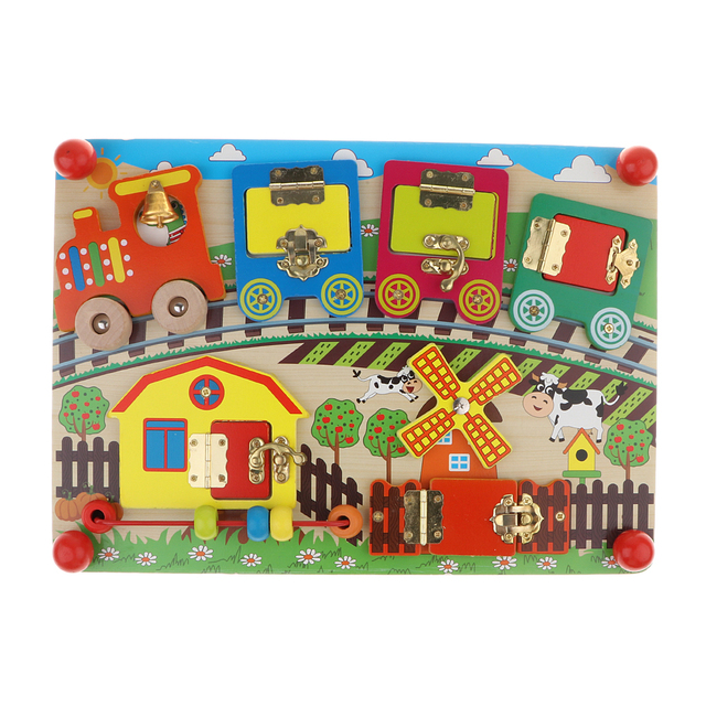 Locks and Wooden Latches To Explore Mysterious Board Game Educational Puzzle Child Montessori ToyPuzzles & Games