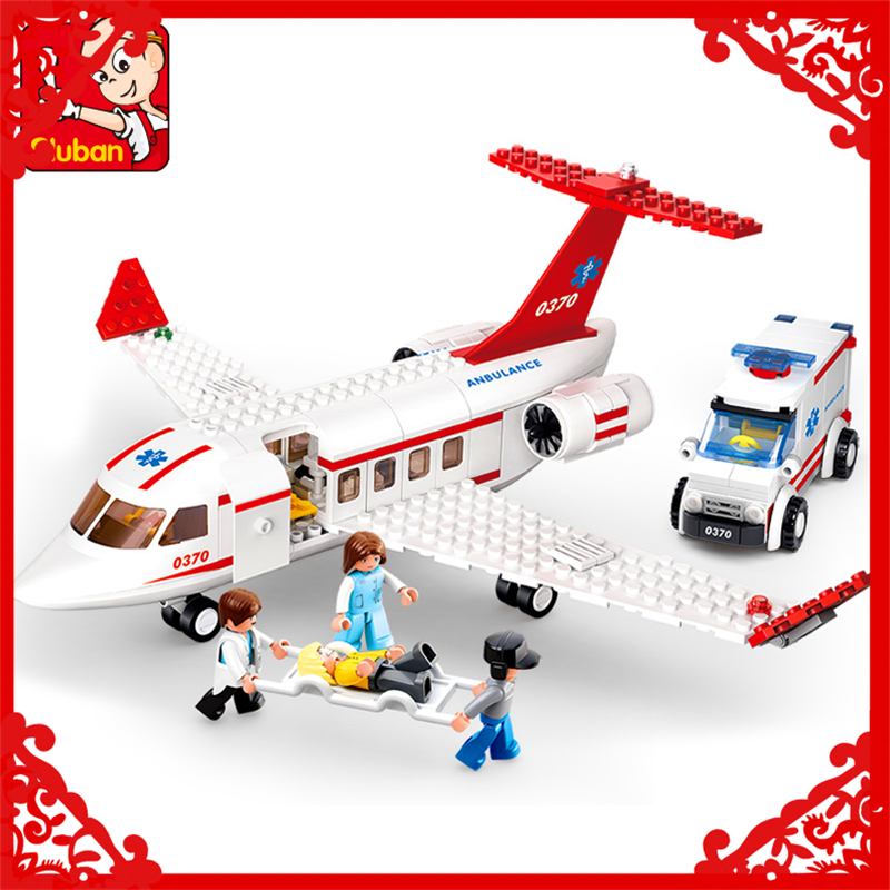 SLUBAN 0370 Block Aircraft Medical Air Ambulance Model 335Pcs Educational  Building Toys For Children Compatible Legoe 0367 sluban 678pcs city series international airport model building blocks enlighten figure toys for children compatible legoe