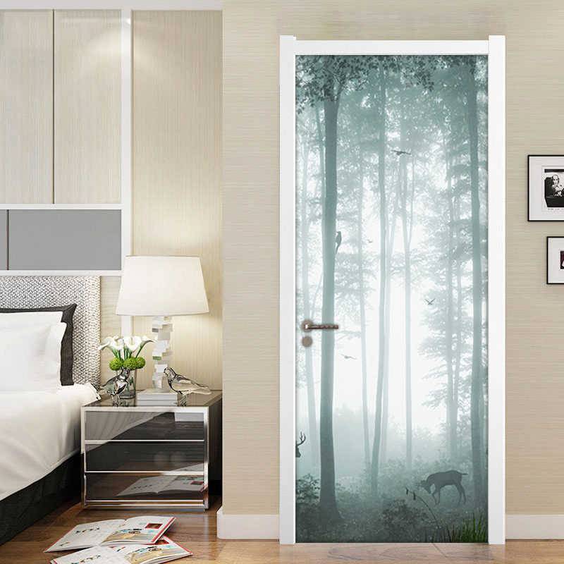 Forest Deer 3D Door Sticker PVC Waterproof Material Door Stickers Poster Wall Decal Wallpaper For Living Room Bedroom Home Decor